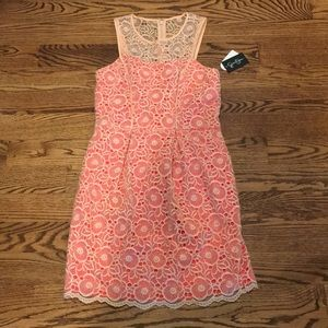 Jessica Simpson coral and peach lace dress, size 4